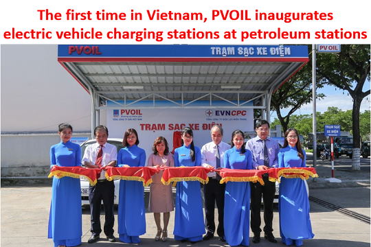 The first time in Vietnam, PVOIL inaugurates electric vehicle charging stations at petroleum stations