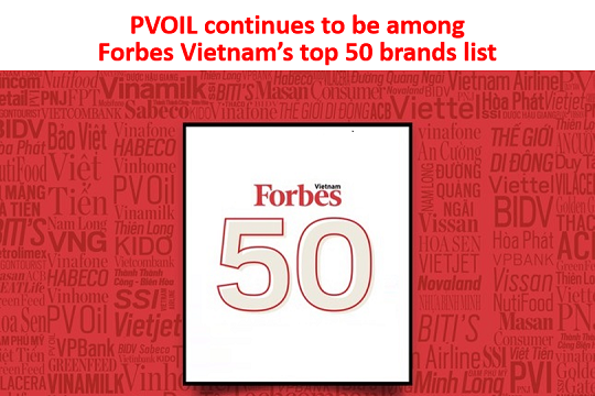 PVOIL continues to be among Forbes Vietnam's top 50 brands list